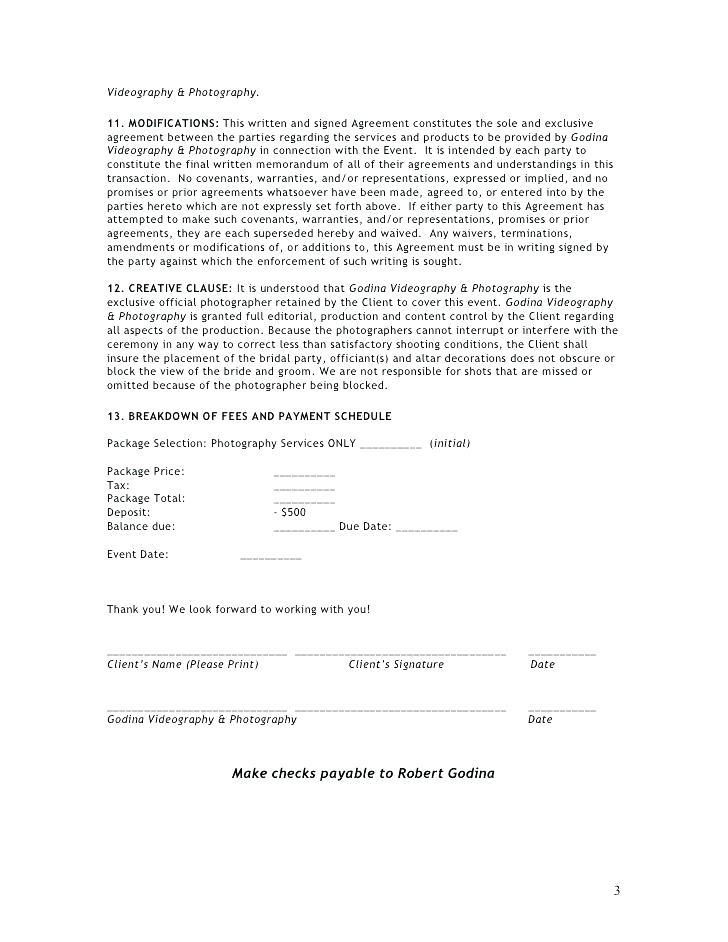 Event Photography Contract Template Pdf