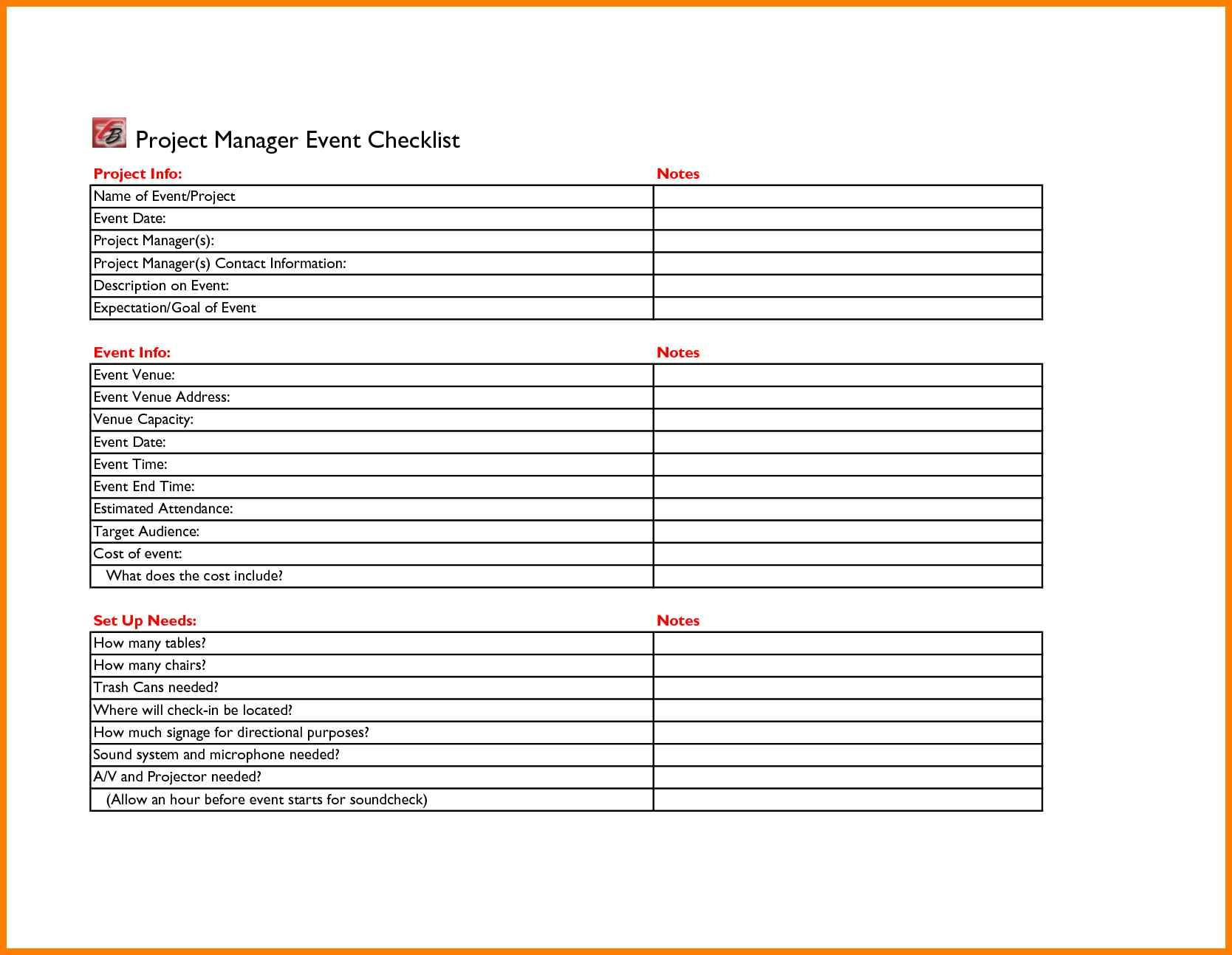 Event Planner Checklist Free Template