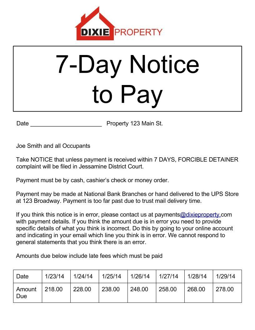 Eviction Letter Template From Landlord
