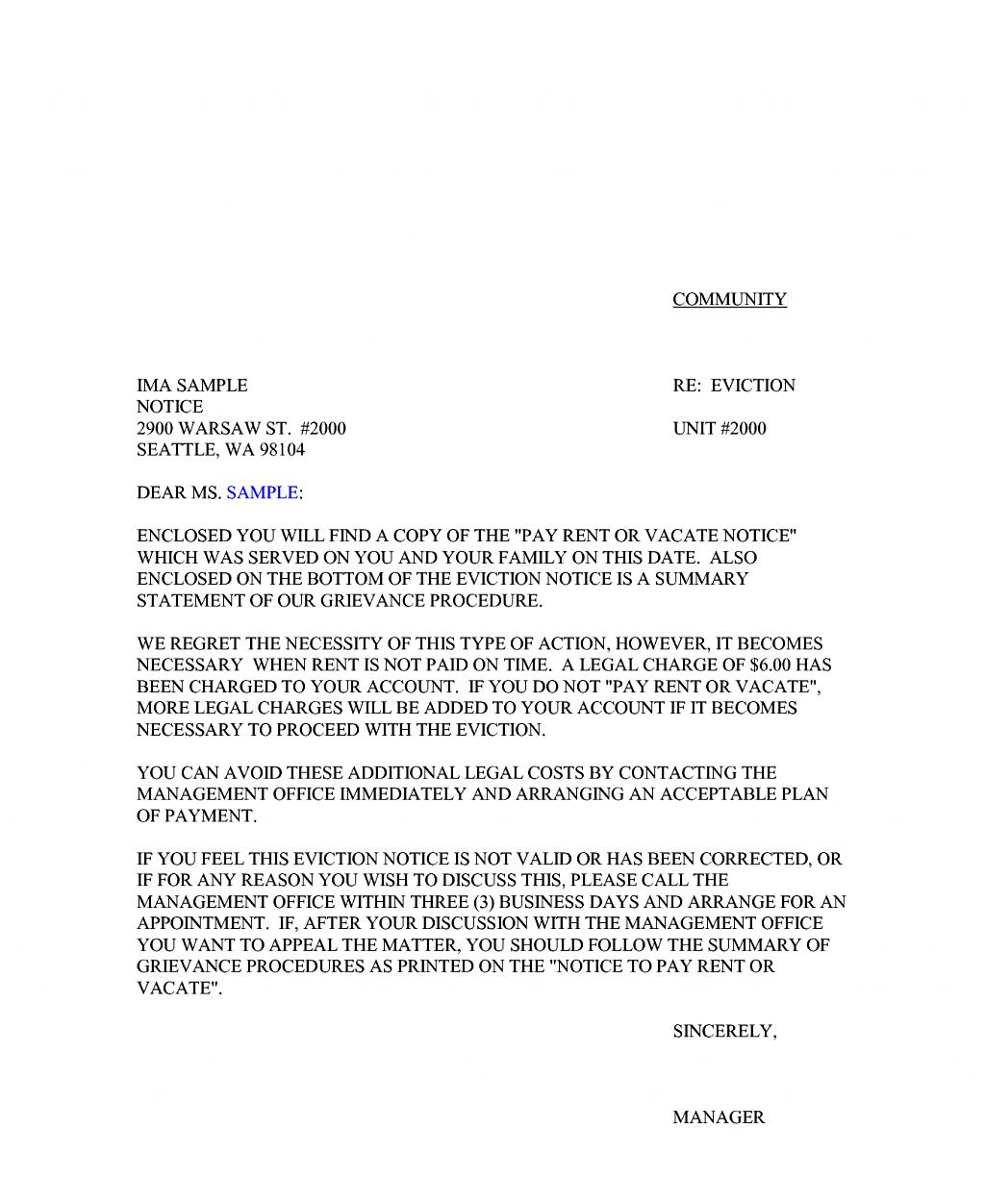 Example Notice To Vacate Premises