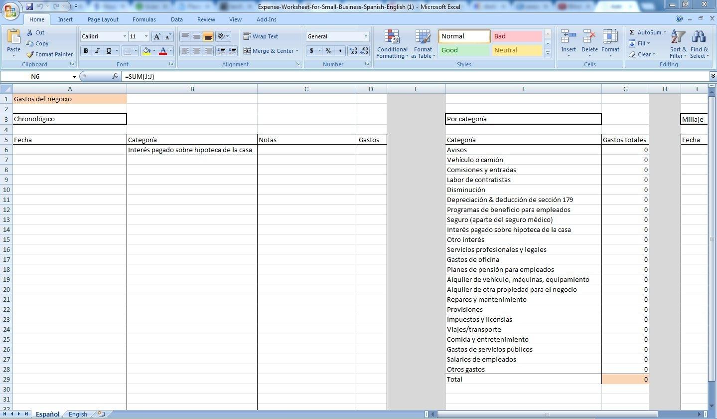 Excel Business Expense Tracking Template