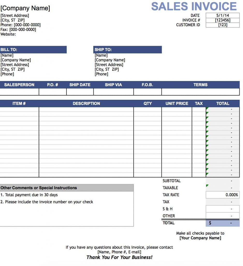 Excel Format Invoice Template Excel