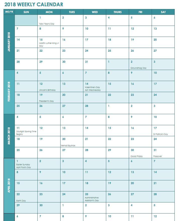 Excel Spreadsheet Calendar Template 2018