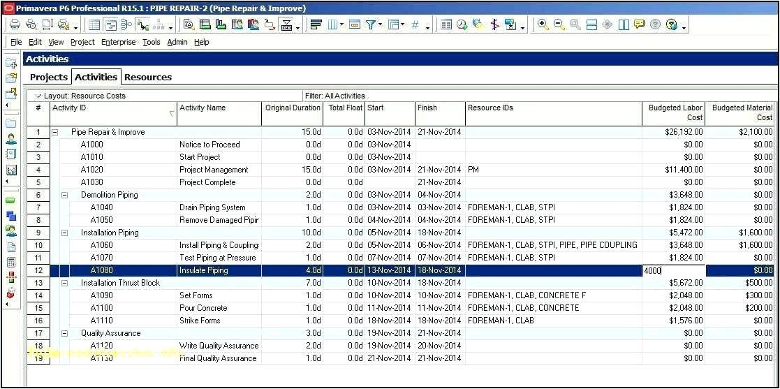 Excel Weekly Construction Schedule Template