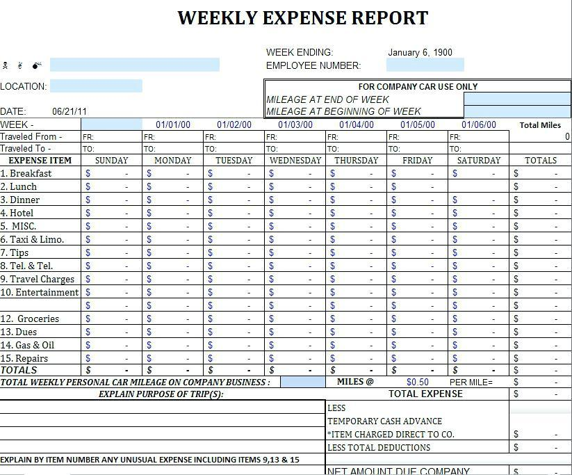 Expense Tracker Word Template