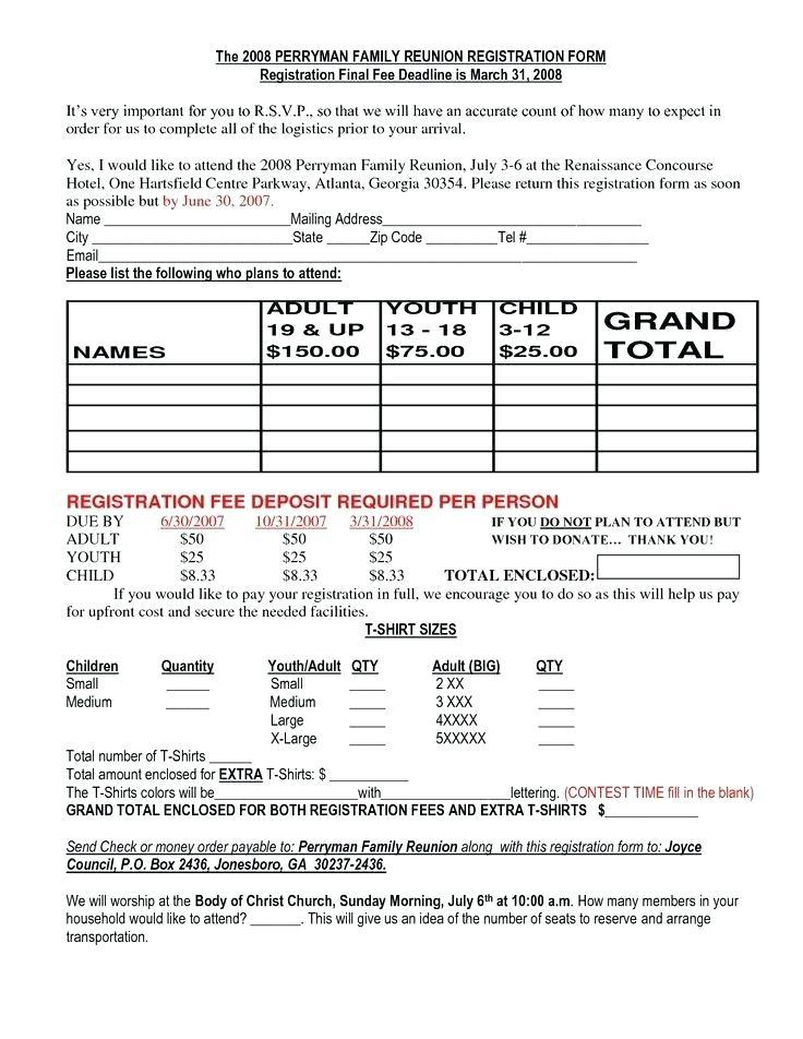 Family Reunion Registration Form Template Word