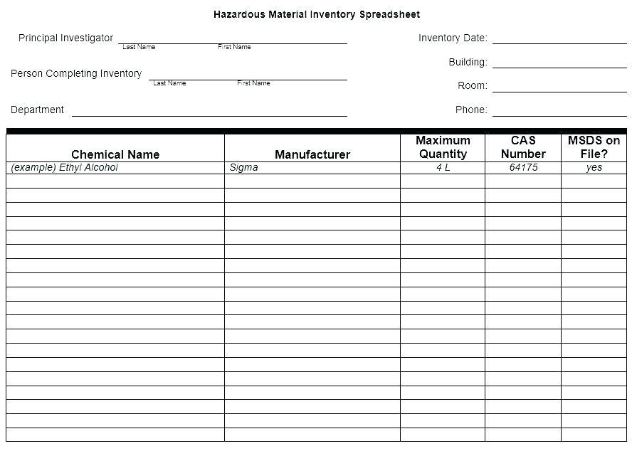 Farm Chemical Inventory Template