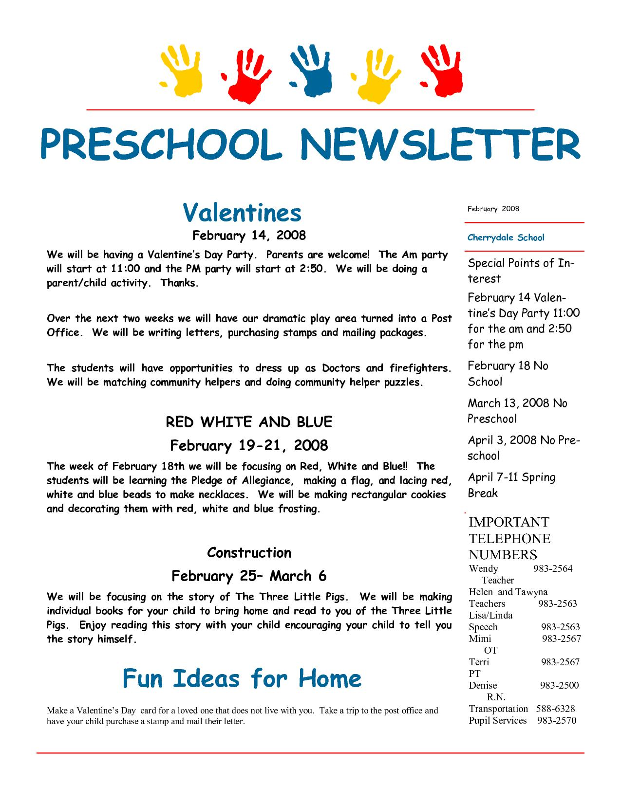 February Newsletter Template For Preschool