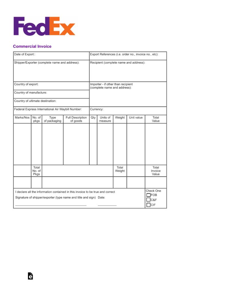 Fedex Commercial Invoice Template