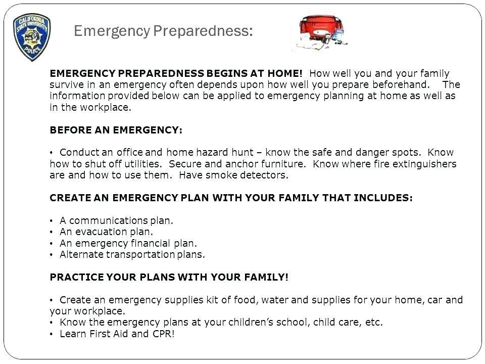 Fema Emergency Preparedness Plan Template
