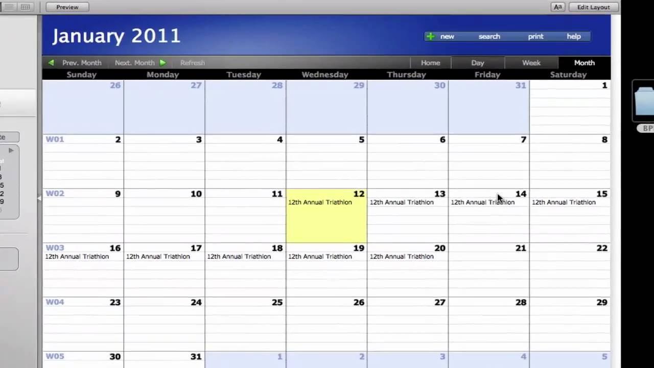 Filemaker Calendar Template
