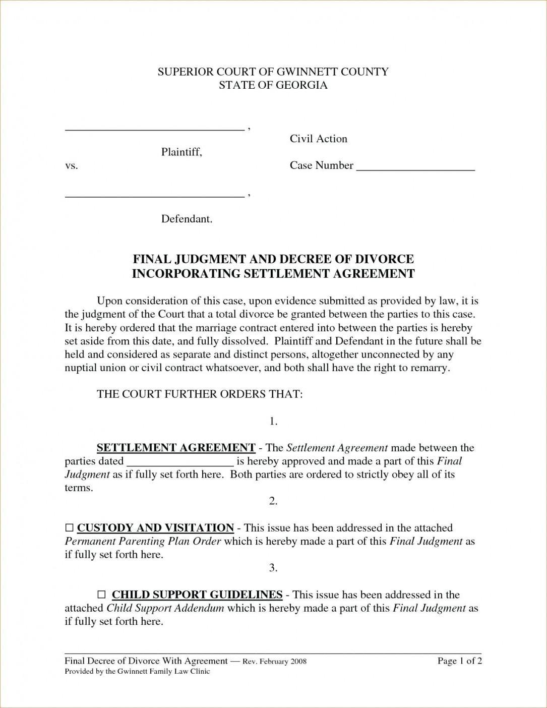 Financial Agreement Template Divorce