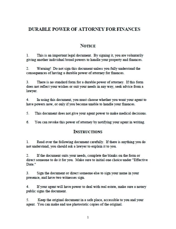 Financial Power Of Attorney Template Illinois