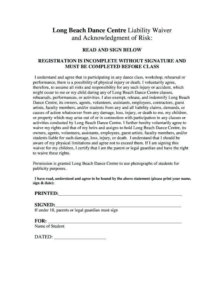 Fitness Class Waiver Template
