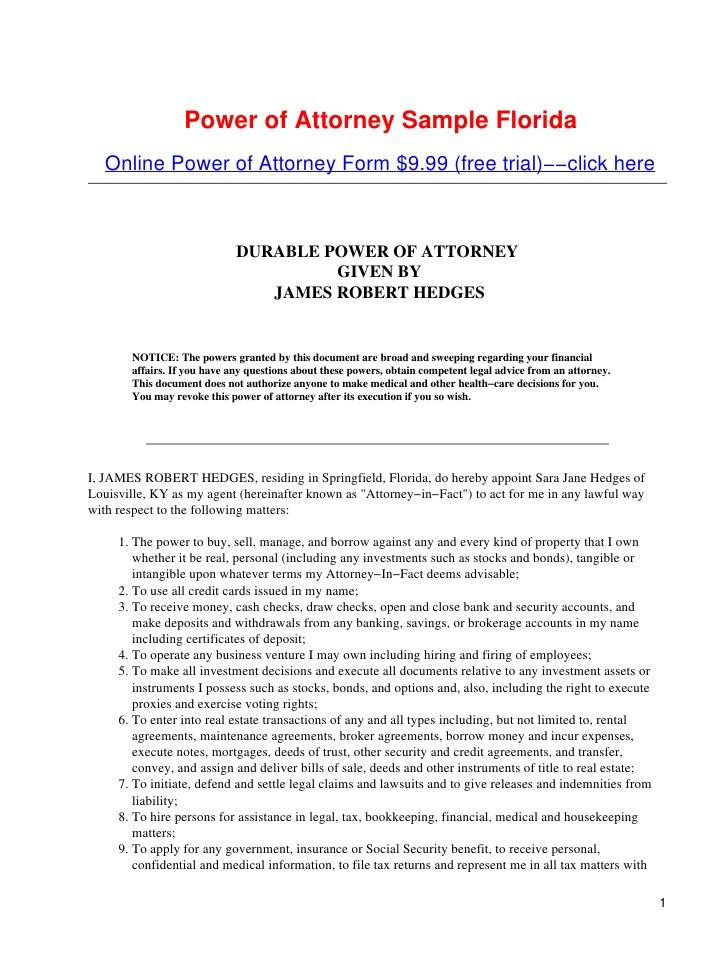 Florida Durable Power Of Attorney Doc