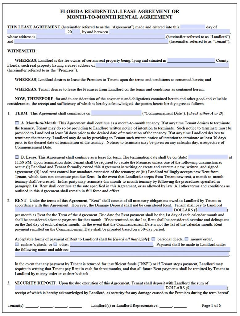 Free Florida Rental Lease Agreement Templates Templates