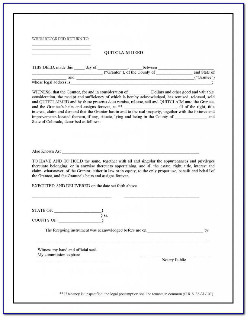 Florida Quit Claim Deed Template