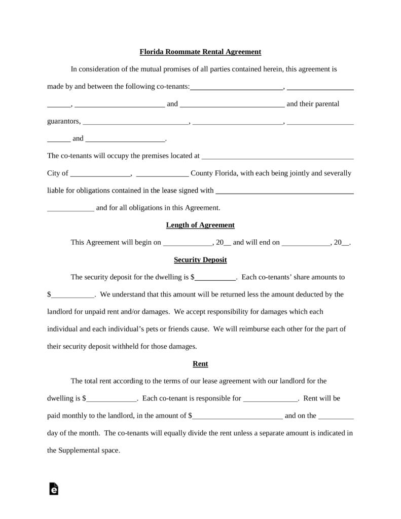 House Rental Agreement Template Florida Templates