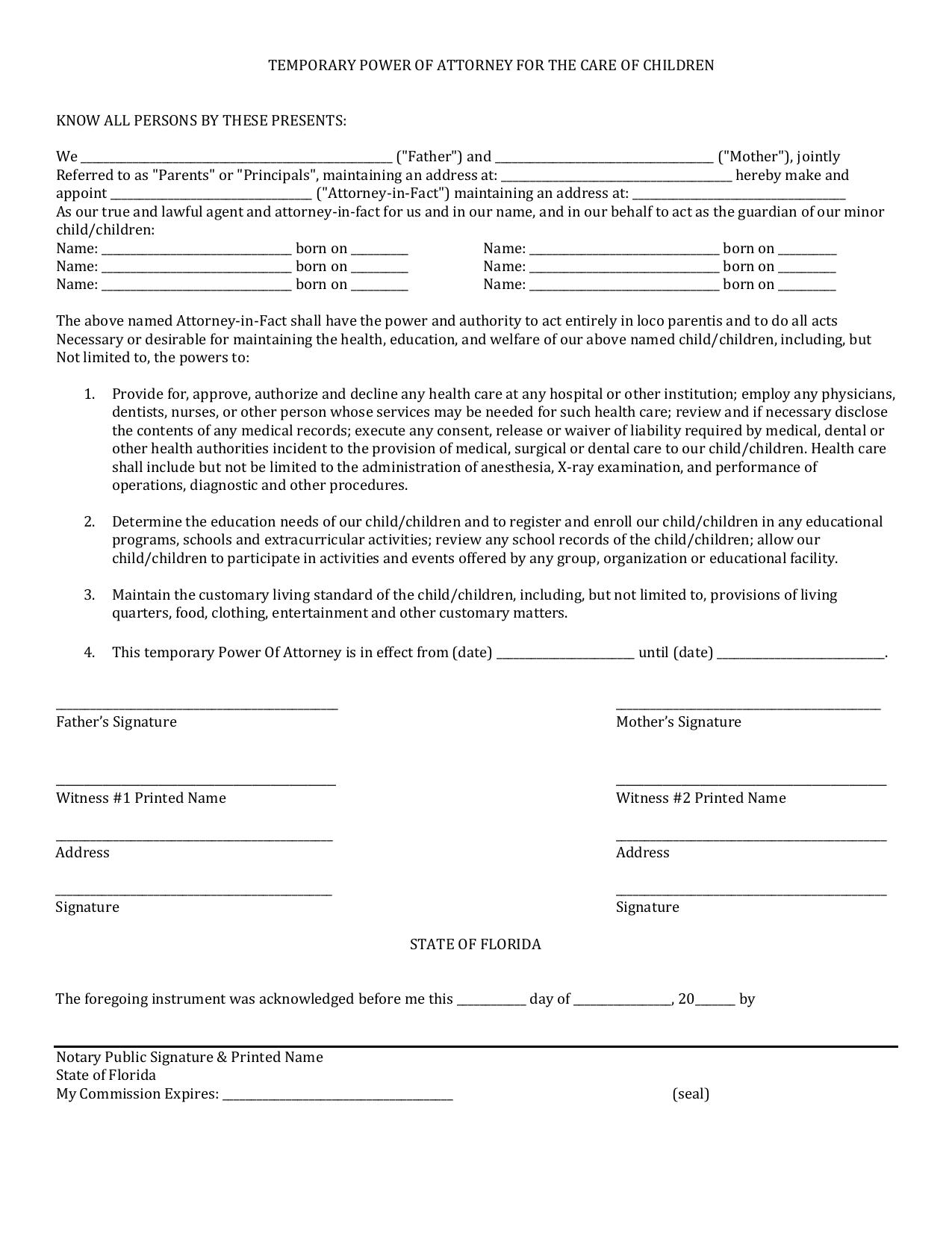 Forms For Power Of Attorney In Florida