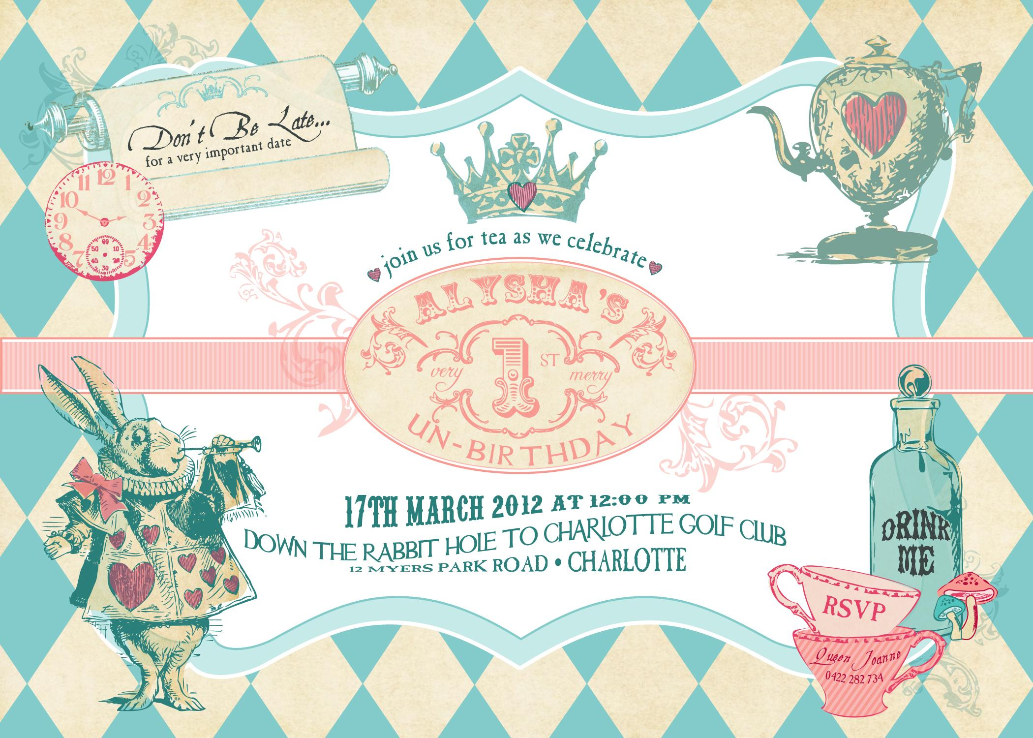 Free Alice In Wonderland Invitation Template Download