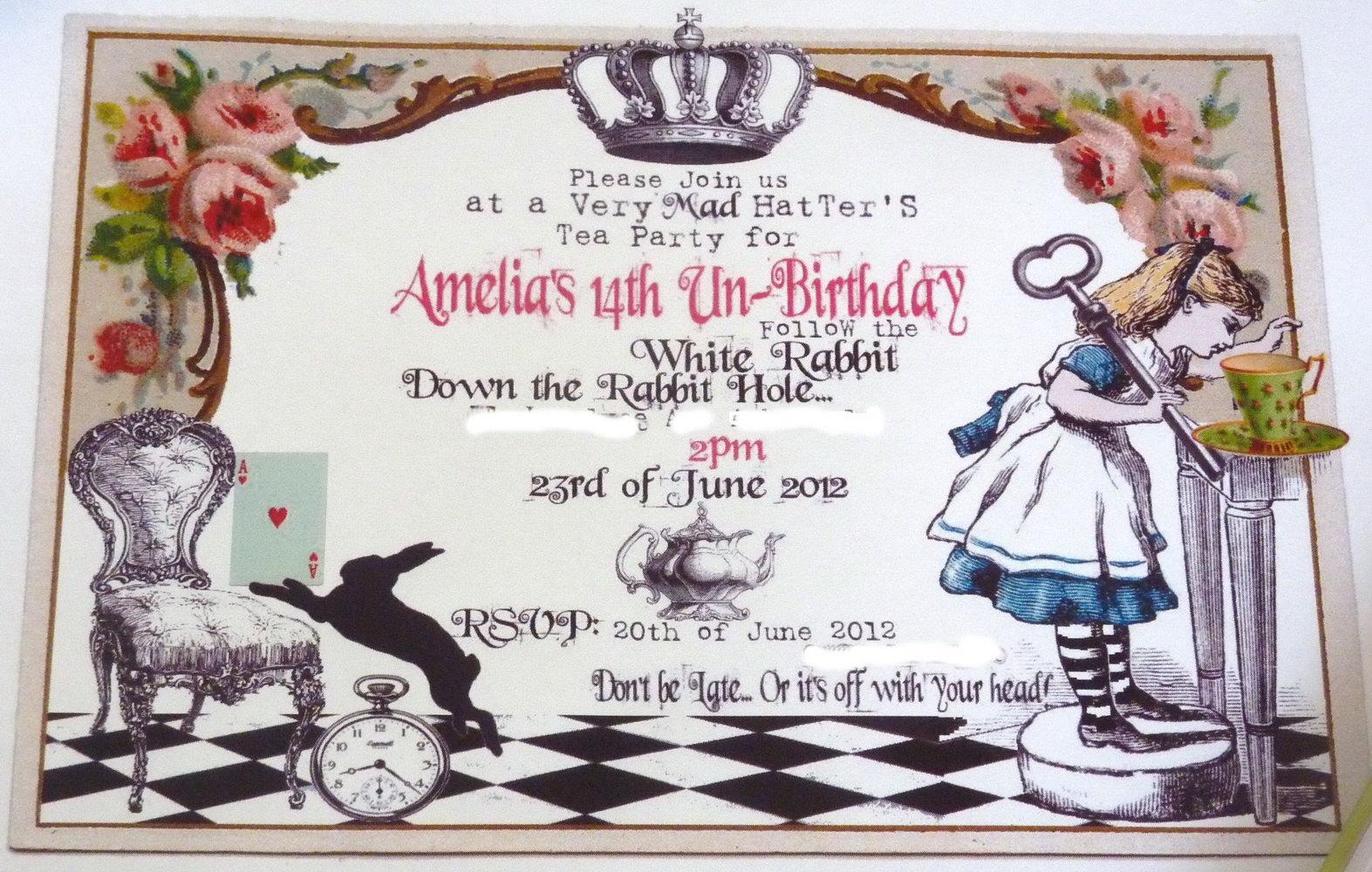 Free Alice In Wonderland Party Invitation Templates