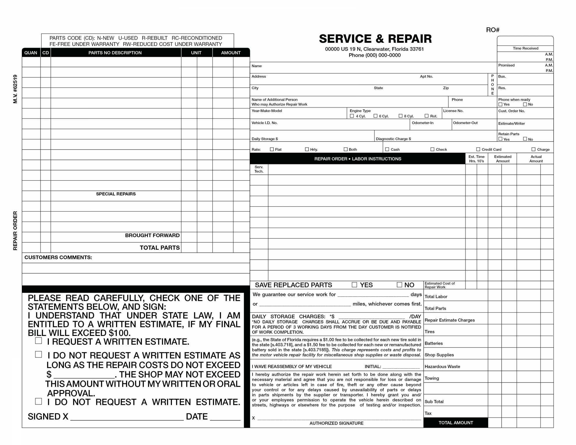 Free Auto Body Repair Invoice Template