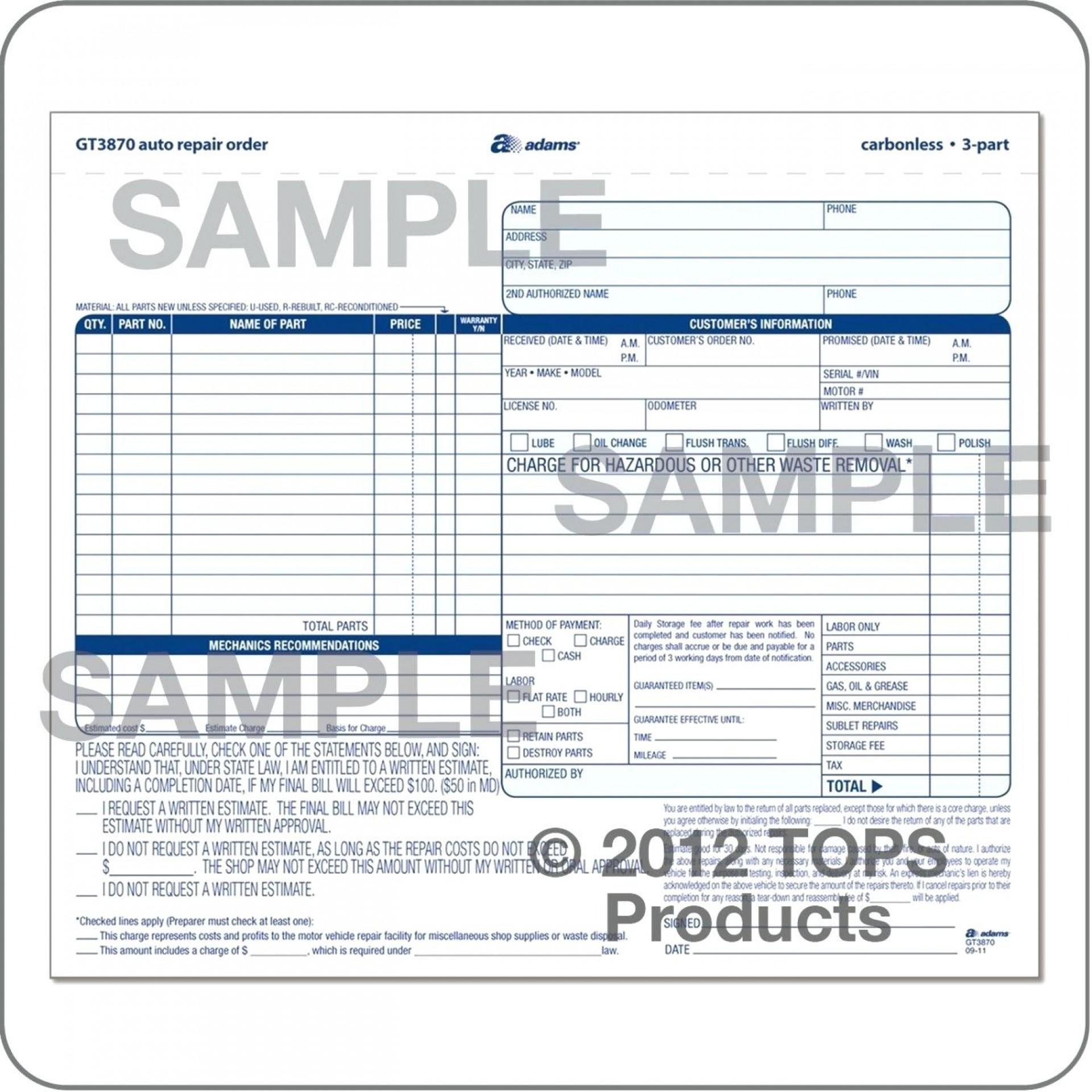Free Automotive Work Order Template Excel