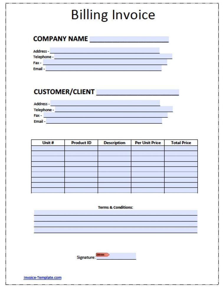 Free Billing Invoice Template Pdf