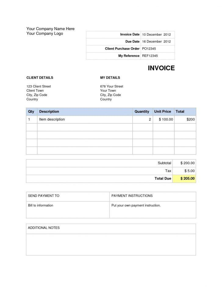 Free Blank Invoice Word Document