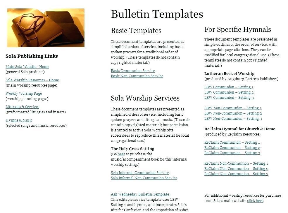 Free Church Program Templates Microsoft Publisher