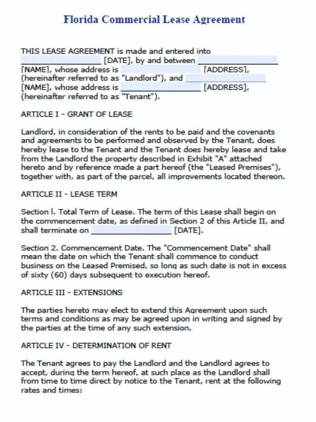 Free Commercial Lease Template Word Uk