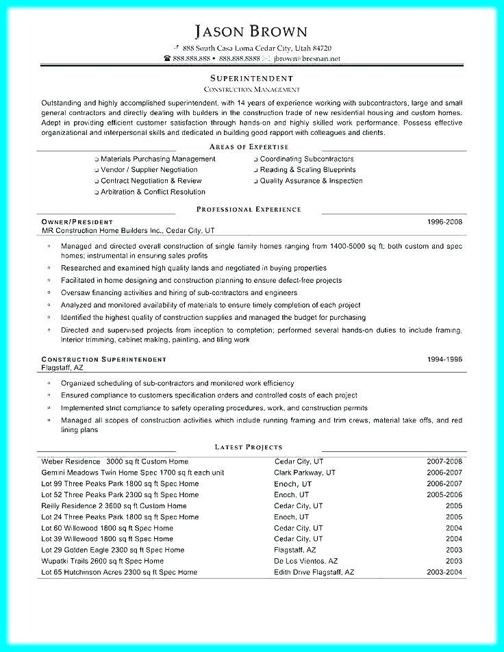 Free Construction Superintendent Resume Templates