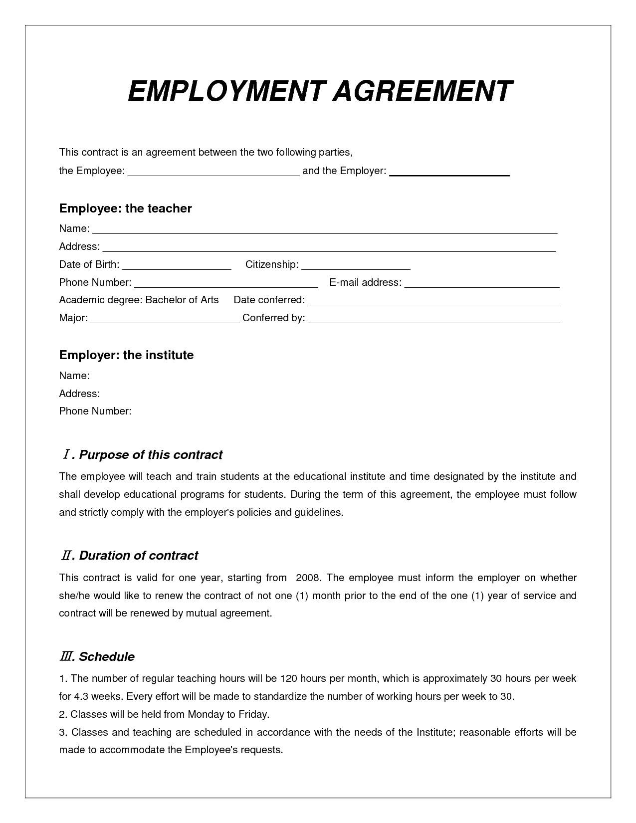 Free Contract Labor Agreement Form