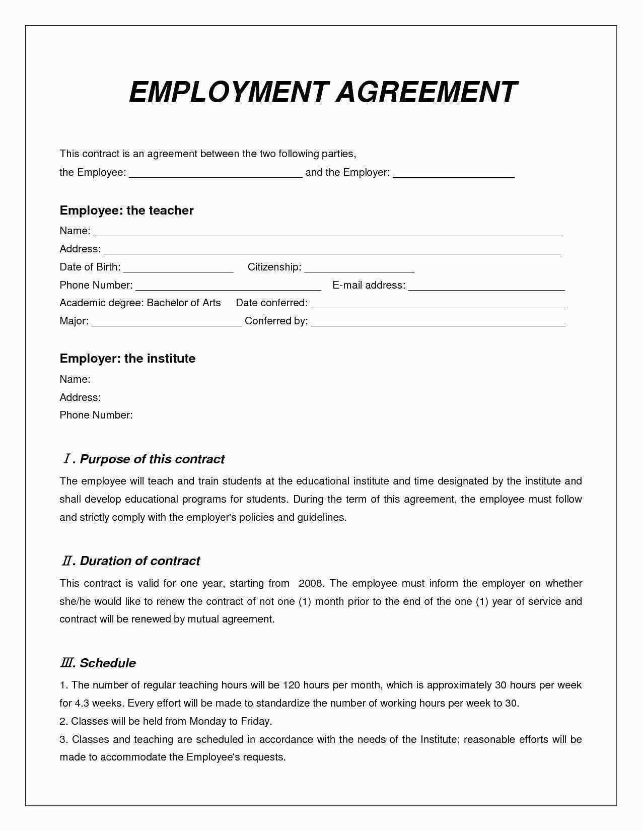 Free Contract Work Agreement Template