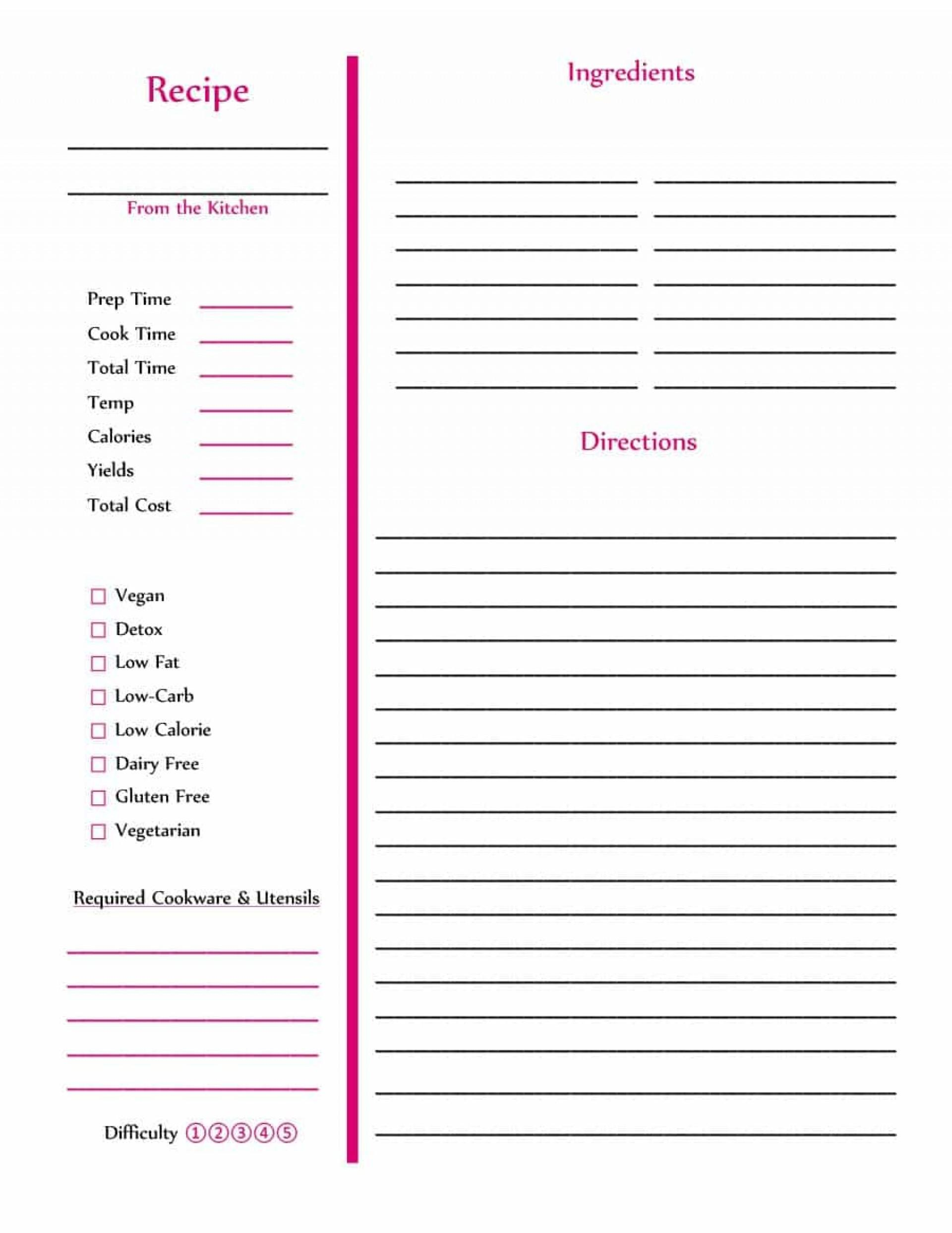 Free Cookbook Recipe Templates