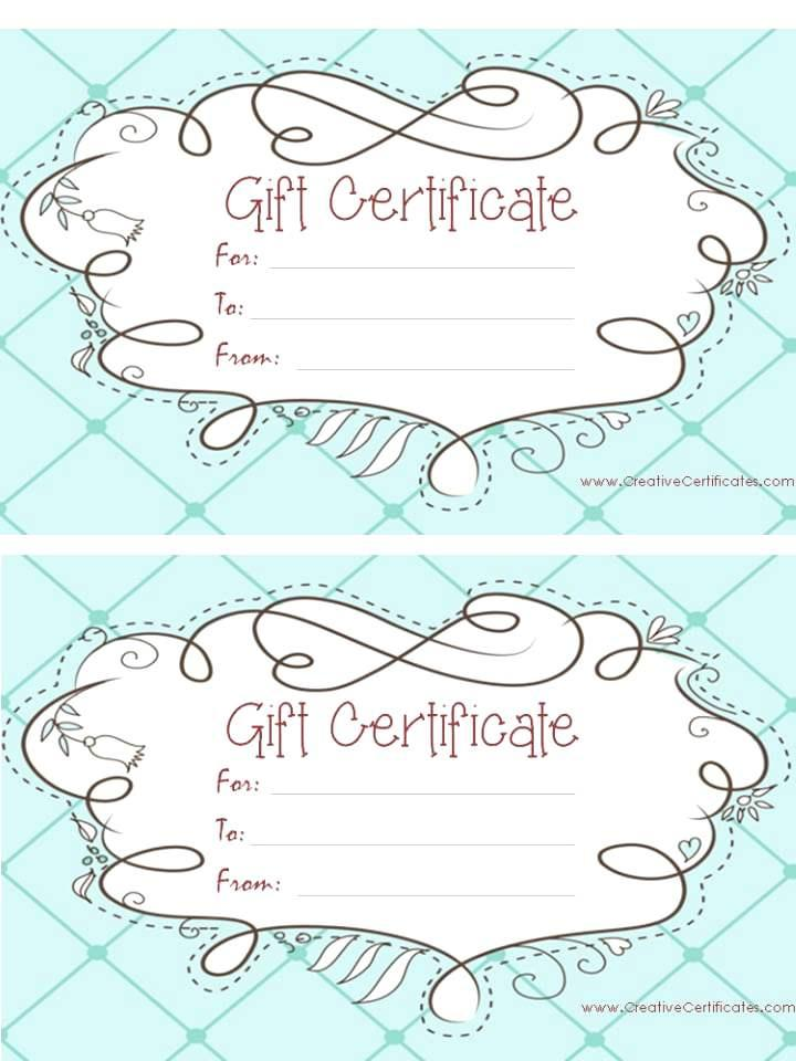 Free Customized Gift Certificate Templates