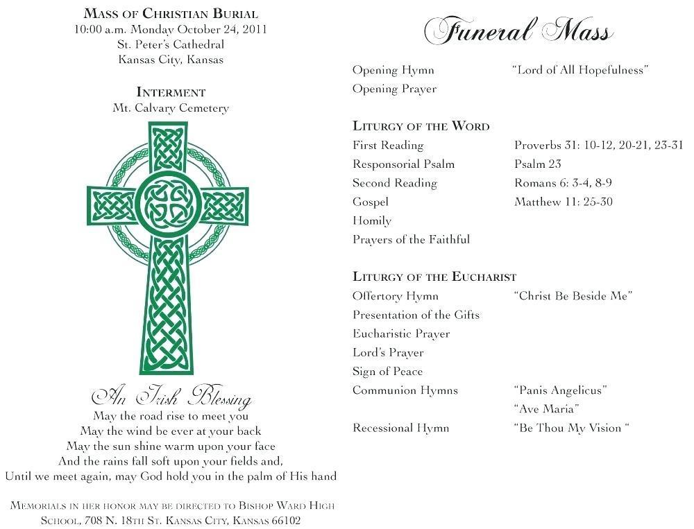Free Editable Catholic Funeral Program Template