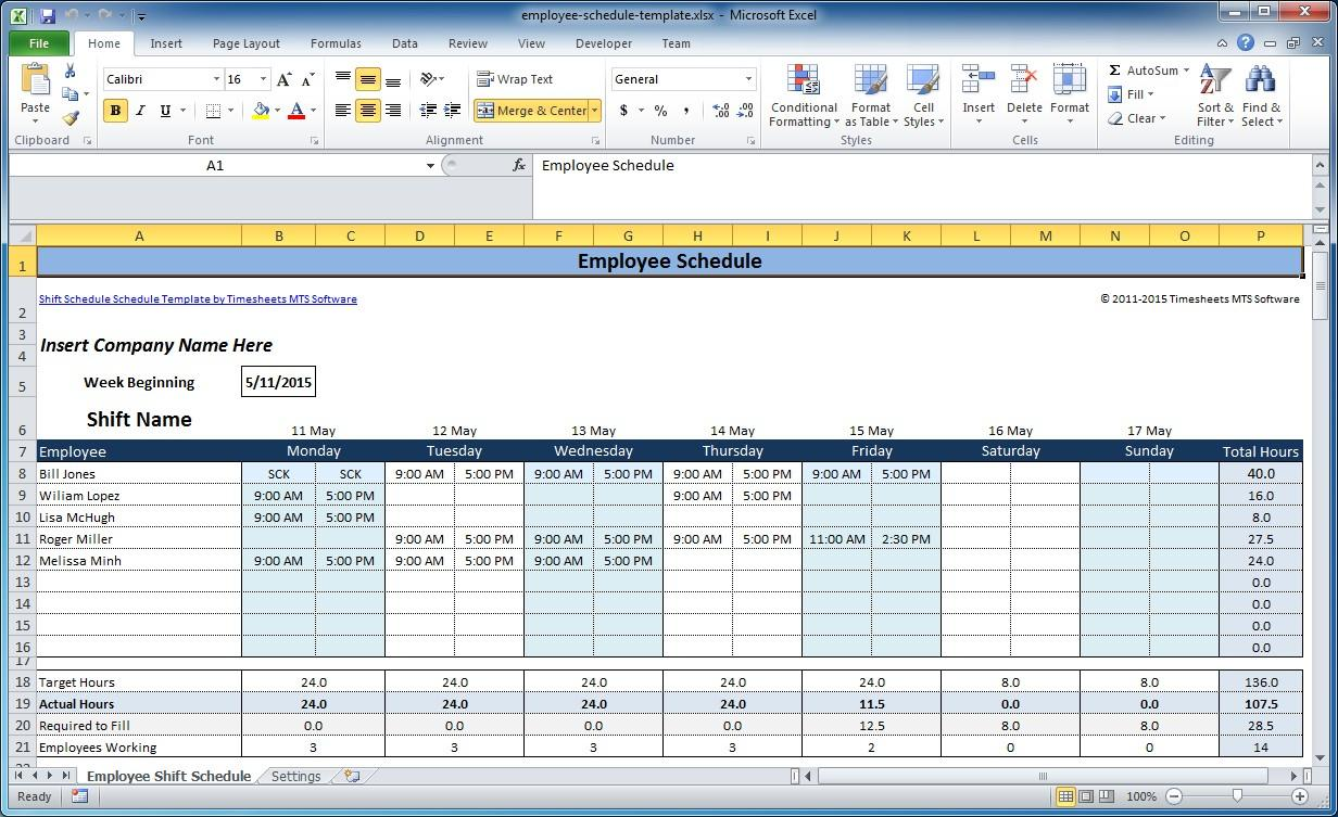 Free Employee Hourly Schedule Template