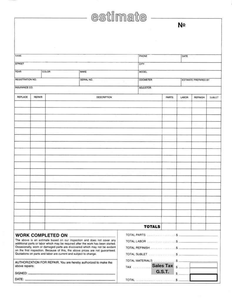 Free Estimate Template Pdf Uk