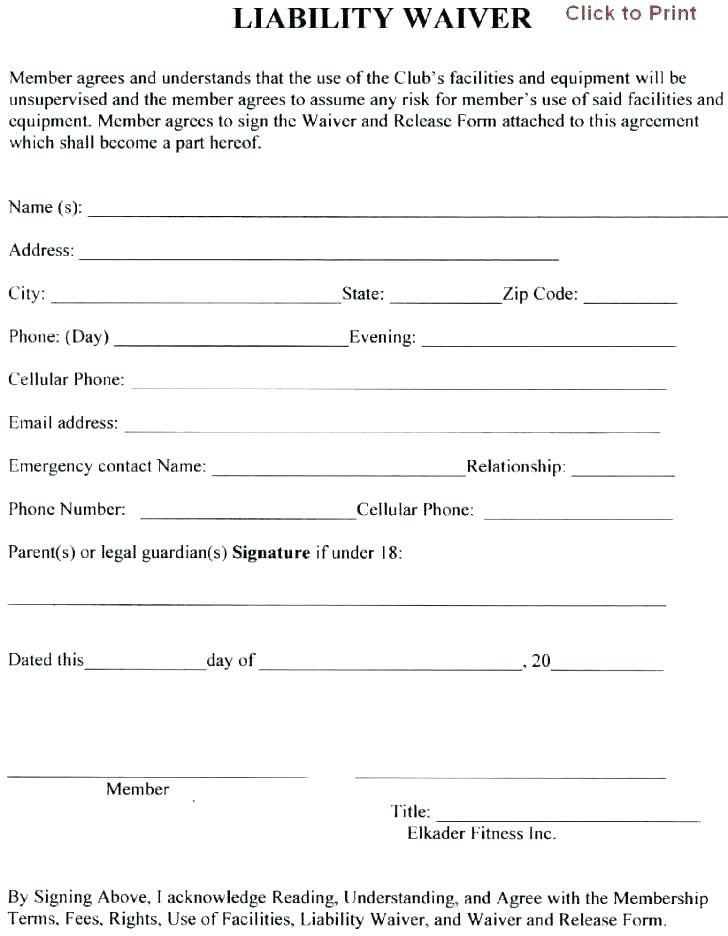 Free Fitness Waiver Template