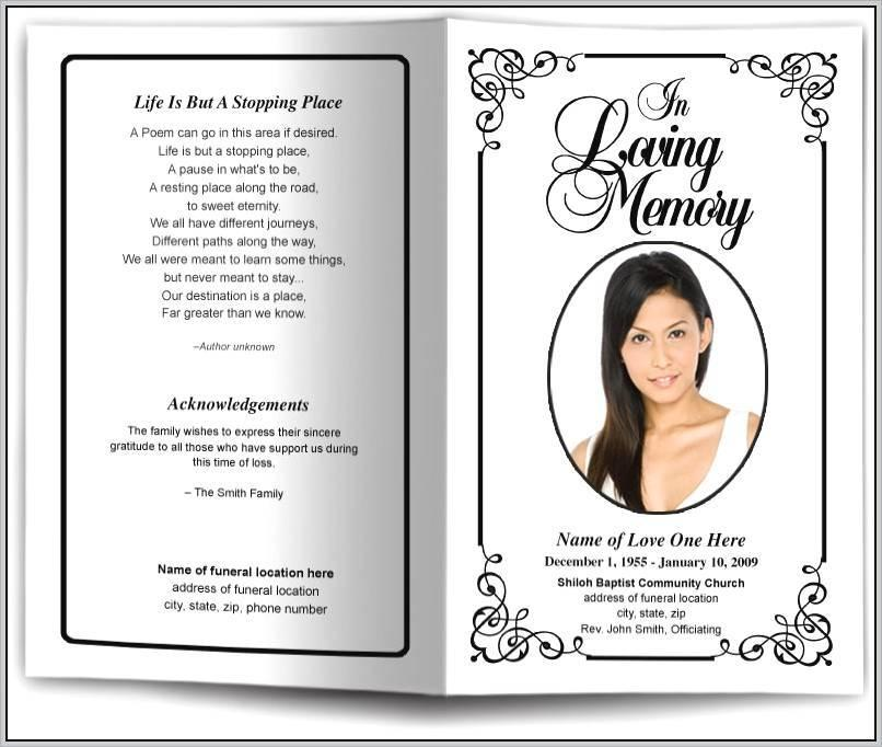Free Funeral Pamphlet Template Word