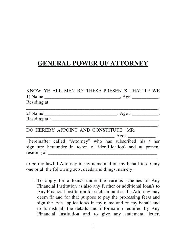 Free General Power Of Attorney Template