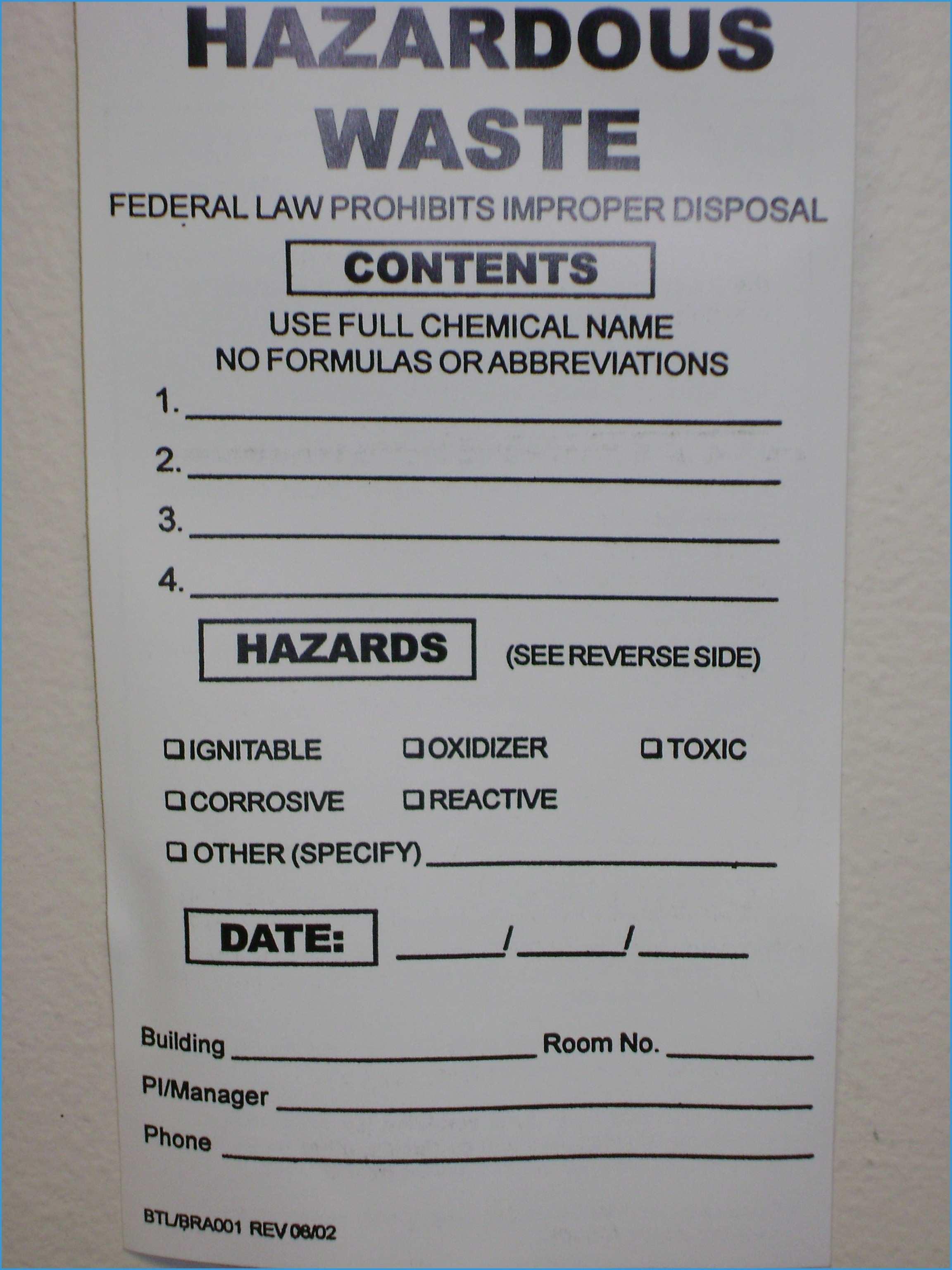 Free Hazardous Waste Label Template