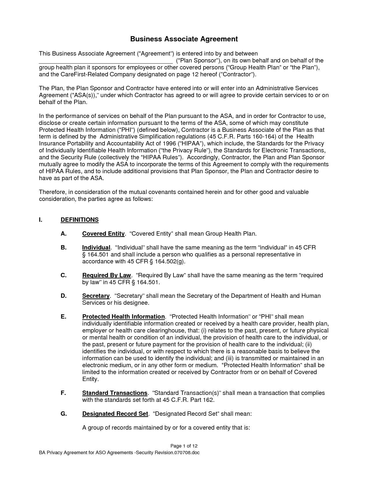 Free Hipaa Business Associate Agreement Template