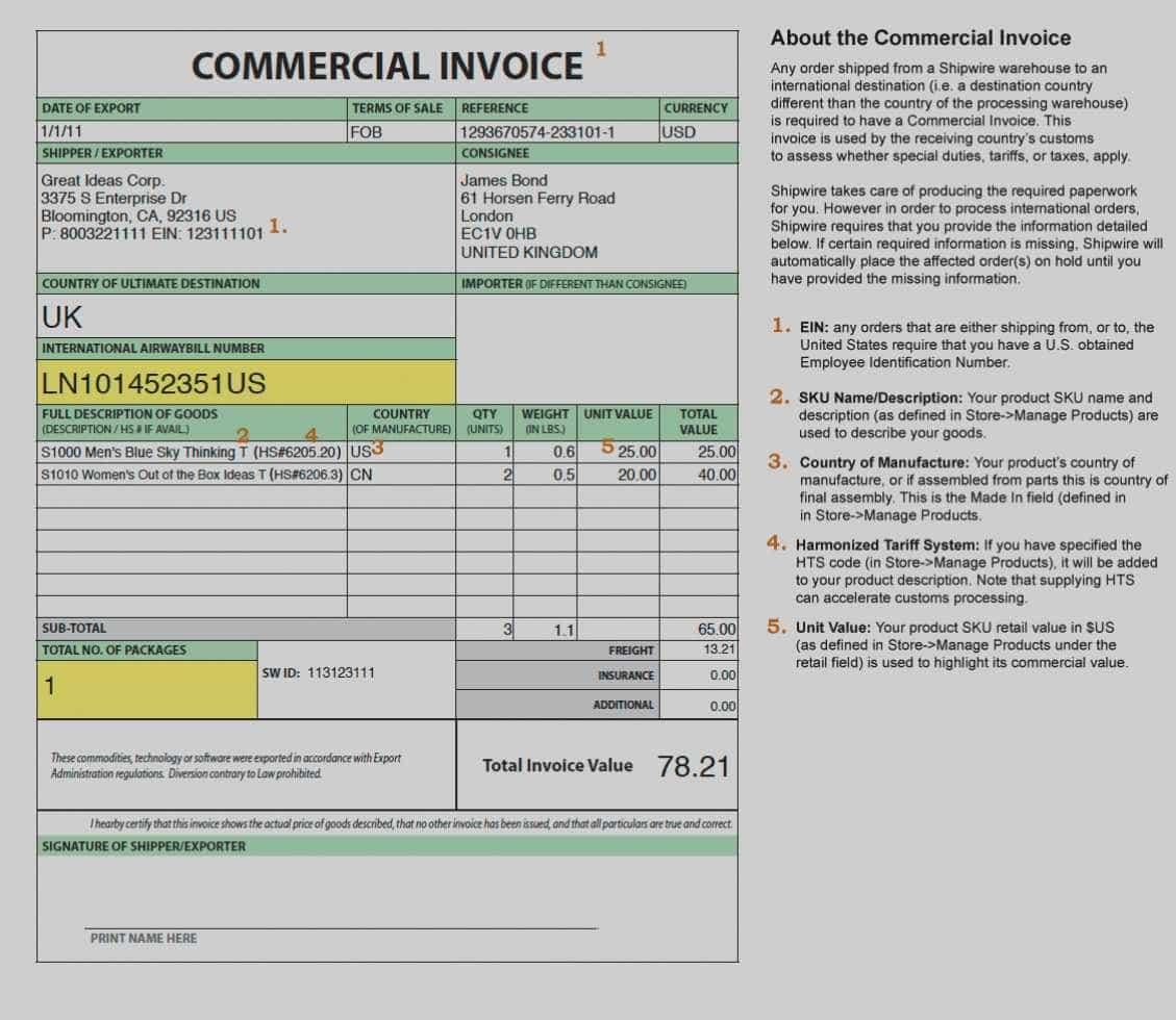 Free International Commercial Invoice Template