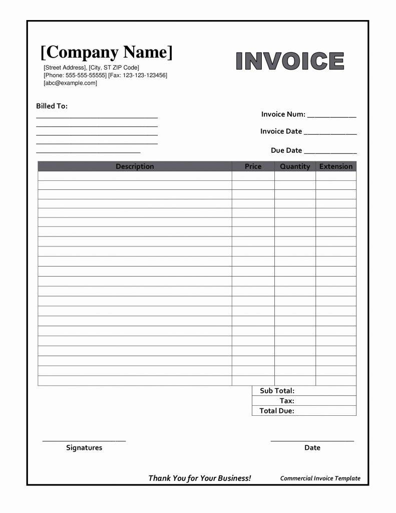 Free Invoice Forms Printable