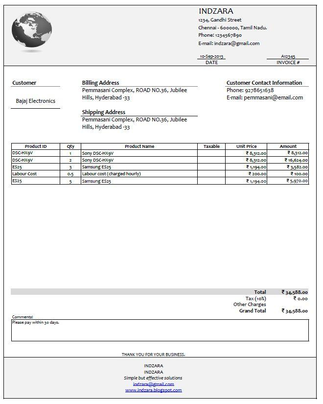 Free Invoice Template For Builders