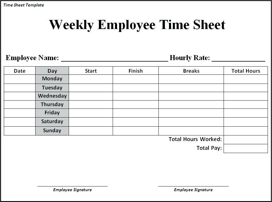 Free Job Timesheet Templates