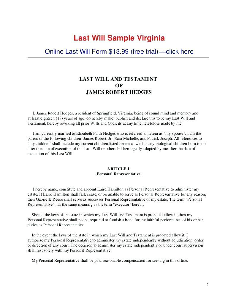 Free Last Will And Testament Template Uk