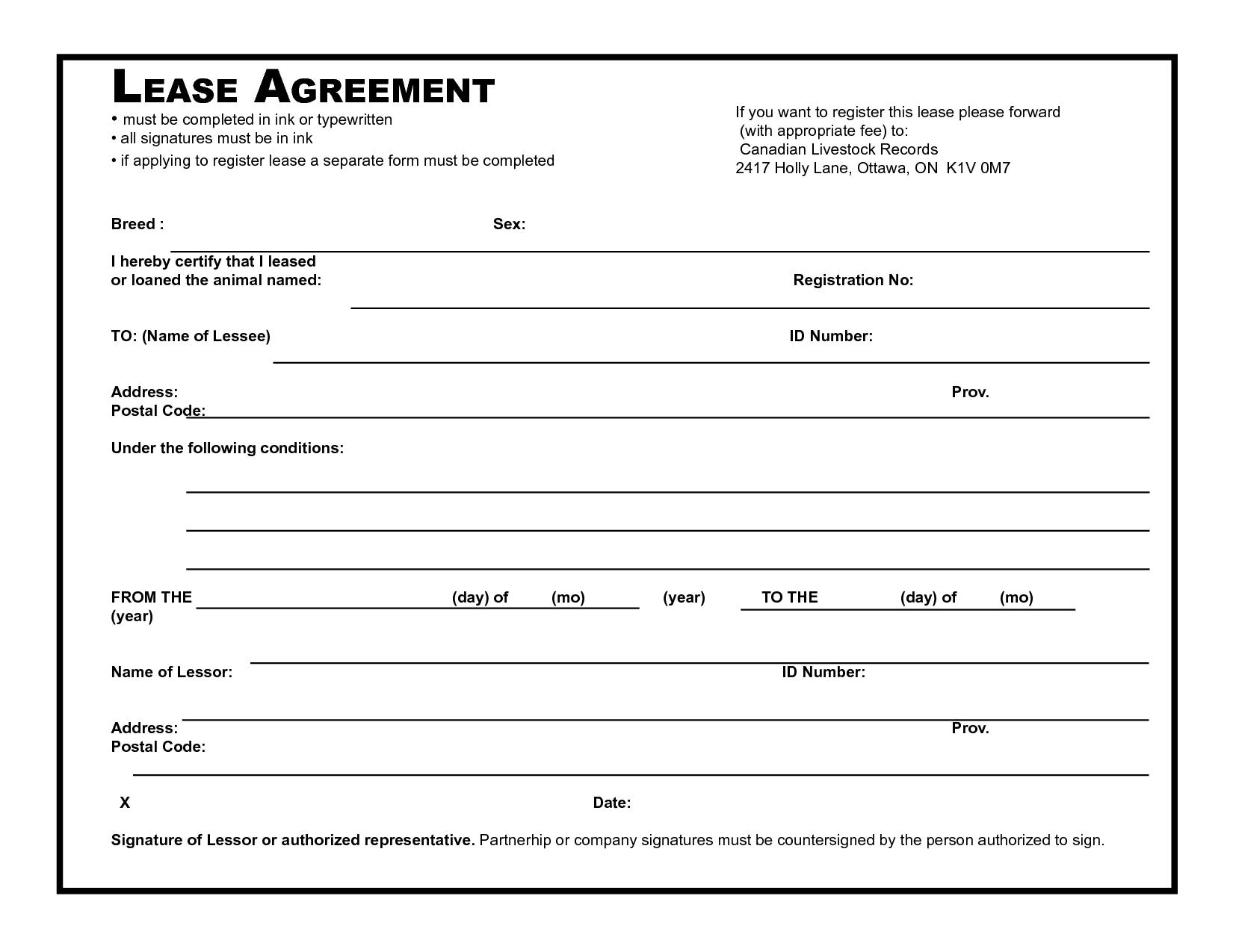 Free Lease Agreement Template Ireland